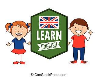 learn english design - learn english design, vector...