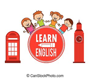 learn english design, vector illustration eps10 graphic