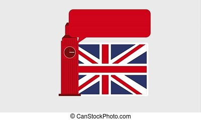 learn english online - big ben clock tower flag england and...