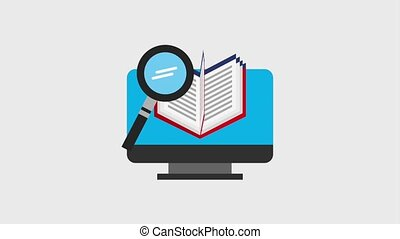 learn english online computer open book and magnifying glass...