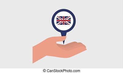 learn english online hand holding pointer map england flag...
