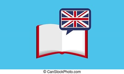 learn english online - open book chat bubble flag british...