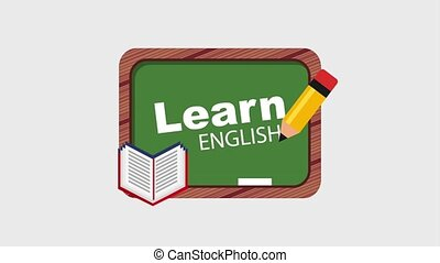 learn english online - school book pencil writing learn...