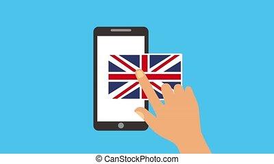 learn english online smartphone diploma england flag...