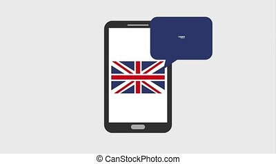 learn english online - smartphone england flag learn english...