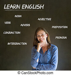Learn English confident beautiful woman teacher chalk blackboard background