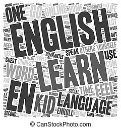 Learn English text background wordcloud concept