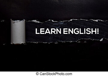 Learn English! Text written in torn paper