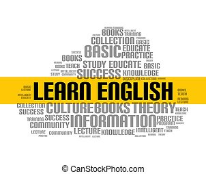 Learn english word cloud course. Education language school online lesson foreign language