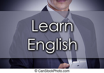 Learn English - Young businessman with text - business concept