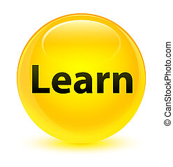 Learn glassy yellow round button