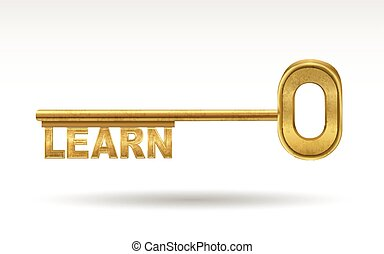 learn - golden key isolated on white background