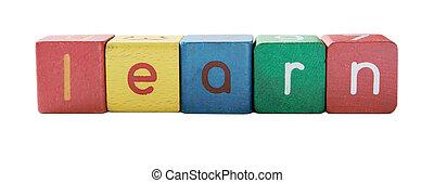 learn in children\'s block letters - the word learn in...