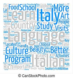 Learn Italian In Italy text background word cloud concept