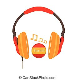 Learn language - Isolated headphones with the flag of spain...