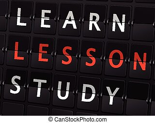 learn lesson study words on airport board