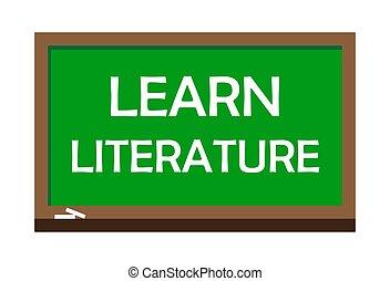 Learn literature write on green board. Vector illustration.