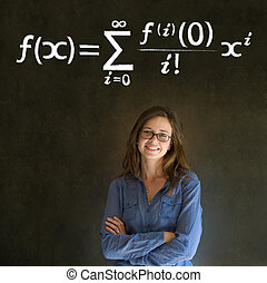 Learn math or maths teacher with chalk background