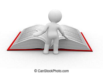 learn more - 3d little human read an open book