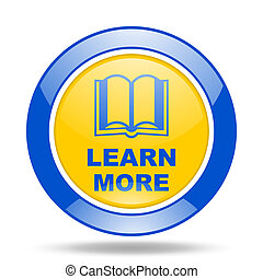learn more blue and yellow web glossy round icon