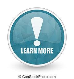 Learn more brillant crystal design round blue web icon.