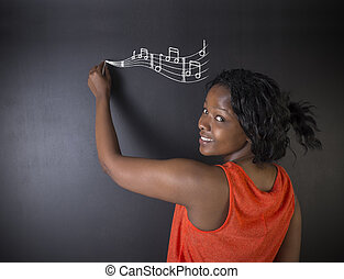 Learn music South African or African American woman teacher or student with chalk background