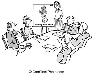 Cartoon of businesswoman leading meeting and chart of bear riding unicycle, learn new skills.