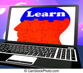 Learn On Brain On Laptop Shows Online Education