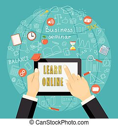 learn online with tablet on  blue globe  background