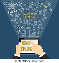 learn online with tablet on dark blue background
