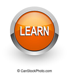 learn orange glossy web icon
