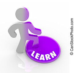 Learn - Person Steps Onto Button and Fills with Knowledge -...