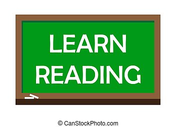Learn Reading write on green board. Vector illustration.
