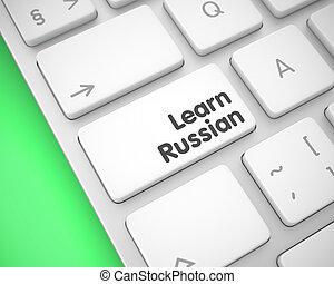 Learn Russian on White Keyboard Button. 3D.