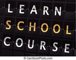 learn school course words on airport board