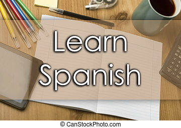 Learn Spanish - business concept with text