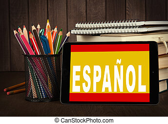 Learn spanish online. Education concept - Learn spanish ...