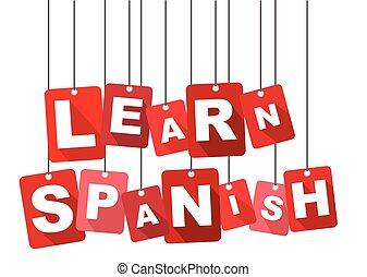 learn spanish, red vector learn spanish, flat vector learn spanish, background learn spanish