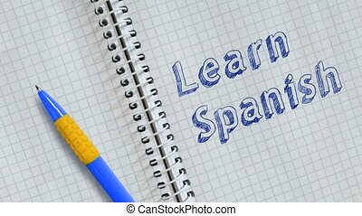 Learn Spanish. Text handwritten on sheet of notebook and ...