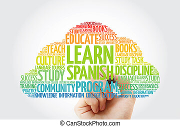 Learn Spanish word cloud with marker