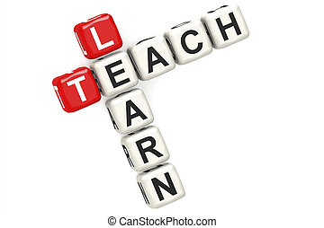 Learn teach word concept on cube block isolated
