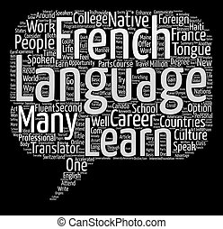Learn the French Language Word Cloud Concept Text Background