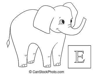 Learn the name of African animals. Inscription Elephant. Educational game vector. ABC coloring