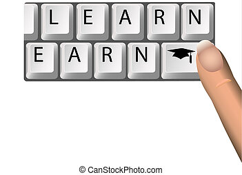 LEARN to EARN Education Graduation Keys on Computer