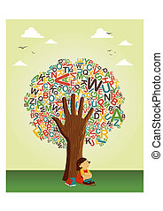 Back to schoo concept tree. Learn to read collaborative education. Vector file layered for easy manipulation and custom coloring.