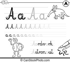 learn to write letter A workbook for children
