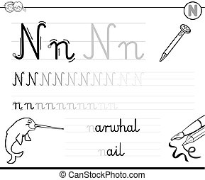 Learn To Write Letter N Black And White Cartoon Illustration Of