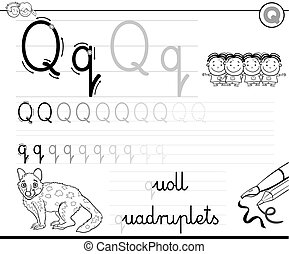 learn to write letter Q workbook for kids - Black and White ...