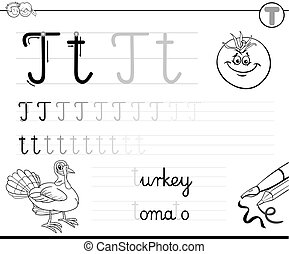 T For Turtle Cartoon Illustration Of T Letter For Turtle
