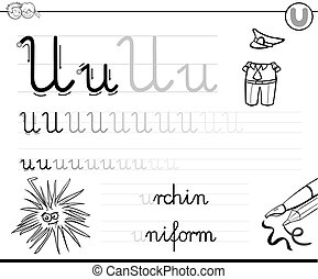 learn to write letter U workbook for kids